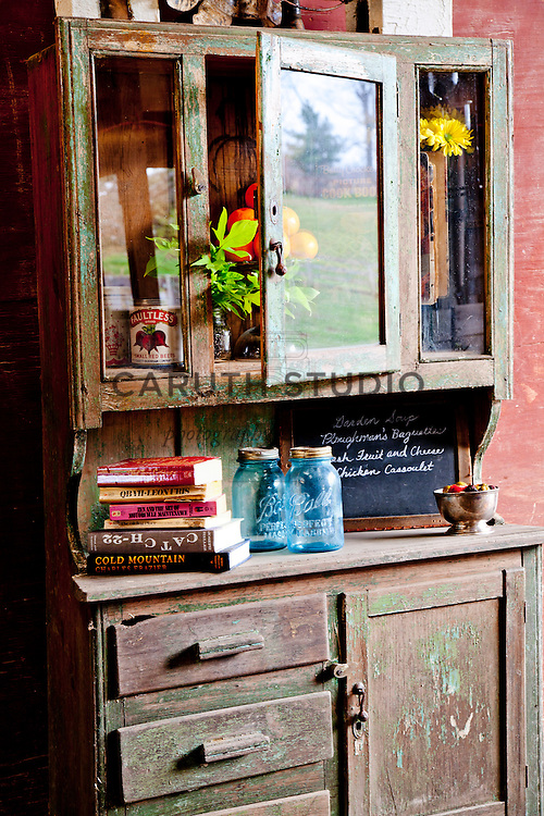 Outdoor book exchange party, cabinet detail