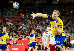 Fredric Pettersson of Sweden during handball match between National teams of Sweden and Norway on Day 7 in Main Round of Men's EHF EURO 2018, on January 24, 2018 in Arena Zagreb, Zagreb, Croatia.  Photo by Vid Ponikvar / Sportida