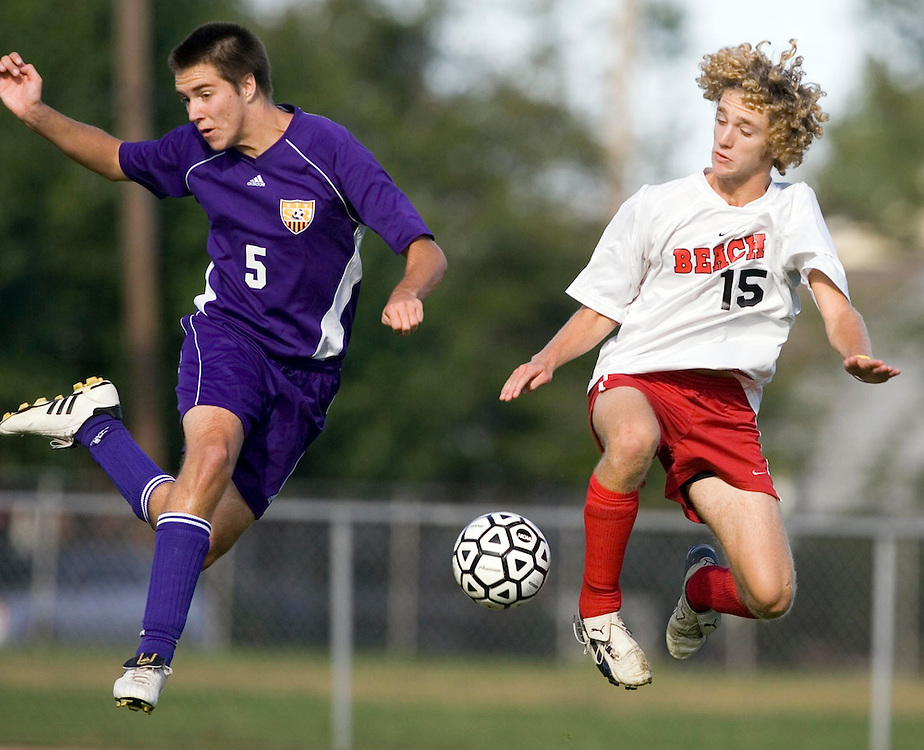 (SPORTS) Pt. Pleasant Beach 9/12/2005 St. Rose's #5 Brendan Engelstad and Pr. Pleasant Beach's #15 Matt Walls battle for a ball during first half play.  Michael J. Treola Staff Photographer.....MJT