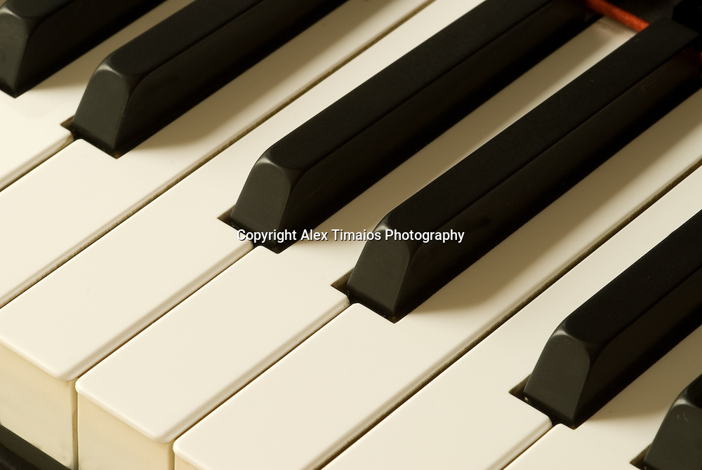 Closeup of a piano keys