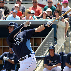 March 15, 2011; Port Charlotte, FL, USA; Tampa Bay Rays third baseman Evan Longoria (3) hits a two run double during a spring training exhibition game against the Florida Marlins at Charlotte Sports Park.   Mandatory Credit: Derick E. Hingle