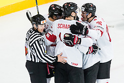 Players of Switzerland celebrate after scoring first goal during the 2017 IIHF Men's World Championship group B Ice hockey match between National Teams of Norway and Switzerland, on May 7, 2017 in Accorhotels Arena in Paris, France. Photo by Vid Ponikvar / Sportida
