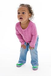 Portrait of a little girl in the studio,