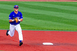 NORMAL, IL - May 01: Clay Dungan handles a ball hit in front of 2nd base and relays to 1st place in a put out attempt during a college baseball game between the ISU Redbirds and the Indiana State Sycamores on May 01 2019 at Duffy Bass Field in Normal, IL. (Photo by Alan Look)
