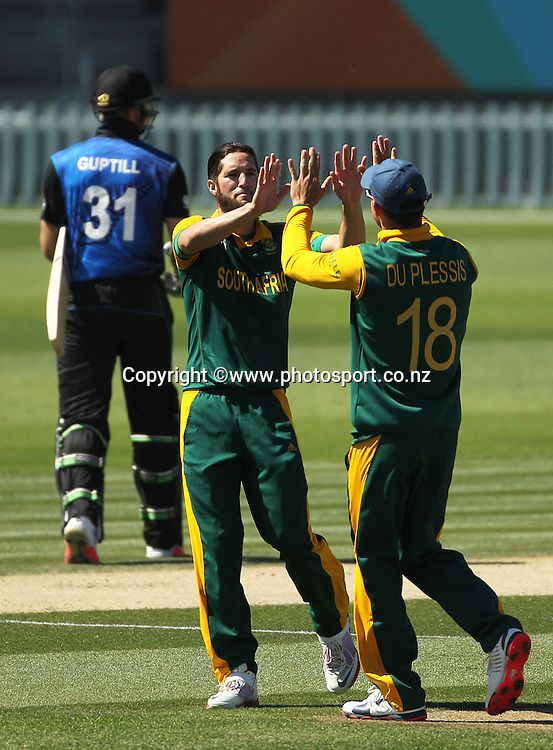 Wayne Parnell of South Africa celebrates with Faf du Plessis after dismissing Martin Guptill of New Zealand during the ICC Cricket World Cup warm up game between New Zealand v South Africa at Hagley Oval, Christchurch. 11 February 2015 Photo: Joseph Johnson / www.photosport.co.nz