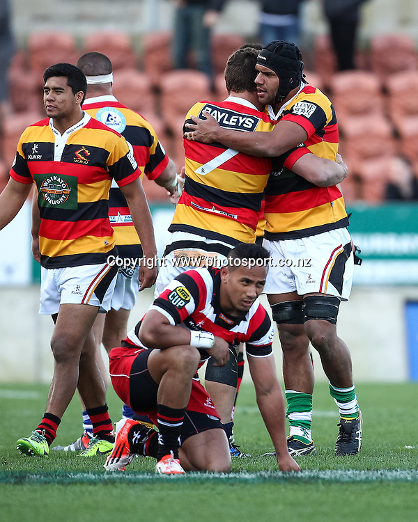 Waikato players celebrate their victory in the ITM Cup rugby match - Waikato v Counties Manukau at Waikato Stadium, Hamilton on Sunday 14 September 2014.  Photo: Bruce Lim / www.photosport.co.nz