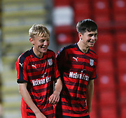06/10/2017 - St Johnstone v Dundee - Dave Mackay testimonial at McDiarmid Park, Perth, Picture by David Young - Dundee's Max Anderson and Dundee's Callum Moore giggle after Anderson had scored