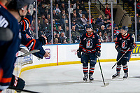 KELOWNA, BC - JANUARY 11: Zane Franklin #16 and Connor Zary #18 of the Kamloops Blazers skate to the bench to celebrate a goal against the Kamloops Blazers at Prospera Place on January 11, 2020 in Kelowna, Canada. (Photo by Marissa Baecker/Shoot the Breeze)