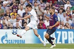 September 18, 2018 - Barcelona, Spain - PSV Eindhoven midfielder Hirving Lozano (11) and FC Barcelona defender Jordi Alba (18) during the UEFA Champions League match between FC Barcelona and PSV Eindhoven at Camp Nou Stadium corresponding of matchday 1, group B on September 18, 2018 in Barcelona, Spain. (Credit Image: © Urbanandsport/NurPhoto/ZUMA Press)
