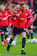 Doncaster Rovers midfielder James Coppinger (26) warms up prior to the EFL Sky Bet League 1 second leg Play-Off match between Charlton Athletic and Doncaster Rovers at The Valley, London, England on 17 May 2019.