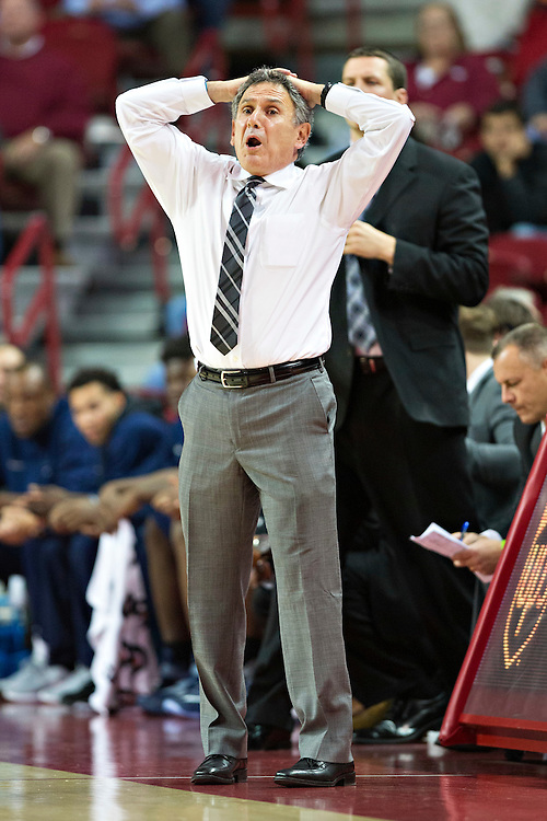 FAYETTEVILLE, AR - NOVEMBER 18:  Head Coach Keith Dambrot of the Akron Zips reacts to a play during a game against the Arkansas Razorbacks at Bud Walton Arena on November 18, 2015 in Fayetteville, Arkansas.  The Zips defeated the Razorbacks 88-80.  (Photo by Wesley Hitt/Getty Images) *** Local Caption *** Keith Dambrot