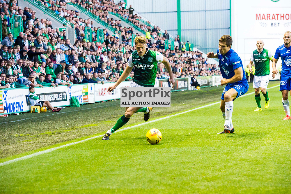 Pictured: Vykintas Slivka was determined to evade his marker<br /> <br /> Hibs welcomed Molde to Easter Road for their second home game of the Europa League campaign