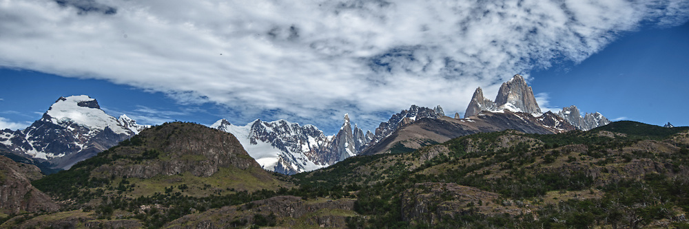 Patagonia Panorama. Image taken with a Nikon D3x and 16-28 mm f/4 VR lens (ISO 100, 31 mm,  f/11, 1/200 sec). Five image HDR with Nik HDR Pro.