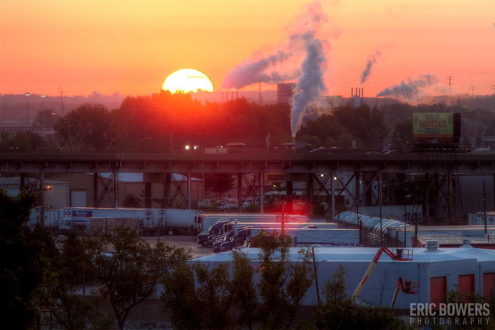 Sunrise on the horizon, view from Strawberry Hill area of Kansas City, Kansas.