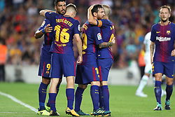 August 7, 2017 - Barcelona, Spain - Lionel Messi of FC Barcelona celebrates with his teammates after scoring a goal during the 2017 Joan Gamper Trophy football match between FC Barcelona and Chapecoense on August 7, 2017 at Camp Nou stadium in Barcelona, Spain. (Credit Image: © Manuel Blondeau via ZUMA Wire)