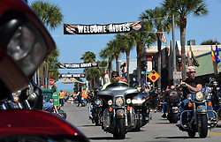March 8, 2019 - Daytona, FL, United States - March 8, 2019 - Daytona Beach, Florida, United States -Motorcyclists parade down Main Street on March 8, 2019 for the opening day of Bike Week in Daytona Beach, Florida. The 10-day event, which draws thousands of motorcycle riders and enthusiasts from around the world, is celebrating its 78th year. (Credit Image: © Paul Hennessy/NurPhoto via ZUMA Press)
