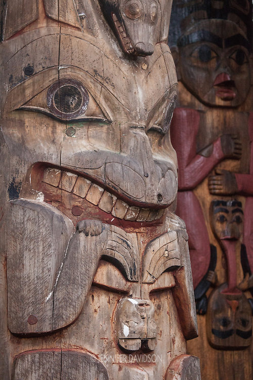 Totem poles at the Sitka National Historical Park in Sitka, Alaska.