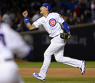 CHICAGO, IL - OCTOBER 22: Javier Baez #9 of the Chicago Cubs reacts after turning a double play in the first inning during Game 6 of the NLCS against the Los Angeles Dodgers at Wrigley Field on Saturday, October 22, 2016 in Chicago, Illinois. (Photo by Ron Vesely/MLB Photos via Getty Images)  *** Local Caption *** Javier Baez