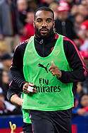 July 13 2017: Arsenal player Alexandre Lacazette (9) warms up at the International soccer match between English Premier League giants Arsenal and A-League premiers Sydney FC at ANZ Stadium in Sydney.