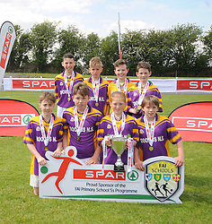 Dorrus NS, Scoil Chiarain Naofa Galway finalists in the SPAR FAI Primary Schools 5's Connacht finals, pictured at Solar Park Mayo with their Cup and medals. As provincial winners they will progress to the SPAR FAI Primary School 5's National Finals in the Aviva Stadium on May 31st.<br /> Pic Conor McKeown