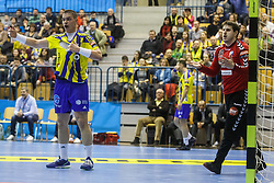 Poteko Vid #15 of RK Celje Pivovarna Lasko and Simic Nebojsa #16 of IFK Kristianstad during handball match between RK Celje Pivovarna Lasko (SLO) and IFK Kristianstad (SWE) in Group phase of EHF Men's Champions League 2016/17, on February 11, 2017 in Arena Zlatorog, Celje, Slovenia. Photo by Grega Valancic