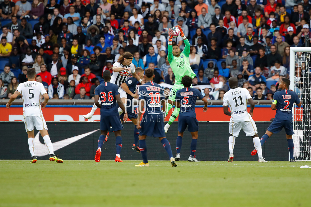 Alphonse Areola (PSG) catched the ball, Billy KETKEOPHOMPHONE (SCO Angers), Neymar da Silva Santos Junior - Neymar Jr (PSG), Marcos Aoas Correa, Marquinhos (PSG), Wilfried KANGA (SCO Angers), Thiago Silva (PSG) during the French championship L1 football match between Paris Saint-Germain (PSG) and SCO Angers, on August 25th, 2018 at Parc des Princes Stadium in Paris, France - Photo Stephane Allaman / ProSportsImages / DPPI