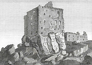 Engraving of Scottish landscapes and buildings from late eighteenth century, Dunnure Castle, Scotland, UK , drawn by S Hooper