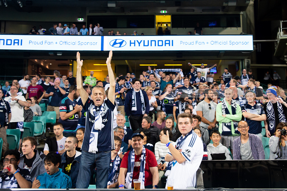SYDNEY, AUSTRALIA - APRIL 06: Melbourne Victory fans at round 24 of the Hyundai A-League Soccer between Sydney FC and Melbourne Victory on April 06, 2019, at The Sydney Cricket Ground in Sydney, Australia. (Photo by Speed Media/Icon Sportswire)