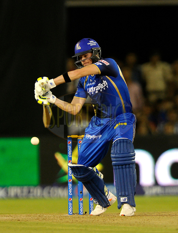 Steven Smith of Rajasthan Royals bats during match 22 of the Pepsi IPL 2015 (Indian Premier League) between The Rajasthan Royals and The Royal Challengers Bangalore held at the Sardar Patel Stadium in Ahmedabad , India on the 24th April 2015.<br /> <br /> Photo by:  Pal Pillai / SPORTZPICS / IPL