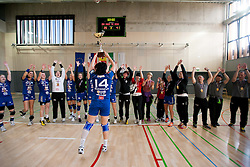 Players of Krim Mercator celebrate after the last game of 1st A Slovenian Women Handball League season 2011/12 between ZRK Krka and RK Krim Mercator, on May 8, 2012 in Stopice at Novo mesto, Slovenia. RK Krim Mercator became Slovenian National Champion, GEN-I Zagorje placed second and ZRK Krka placed third. (Photo by Vid Ponikvar / Sportida.com)