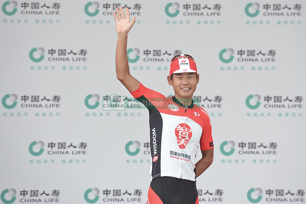 September 16, 2016 - Wuhan, China - Meiyin Wang from Wisdom-Hengxiang Cycling team wins the Best China Rider Jersey, after the final sixth stage, 99.6km Wuhan Xinzhou Circuit race, of the 2016 Tour of China 1..On Friday, 16 September 2016, in Xinzhou, Wuhan , China. (Credit Image: © Artur Widak/NurPhoto via ZUMA Press)
