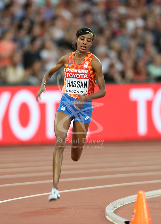 London, August 13 2017 . Sifan Hassan, Netherlands, in the women's 5000m final on day ten of the IAAF London 2017 world Championships at the London Stadium. © Paul Davey.