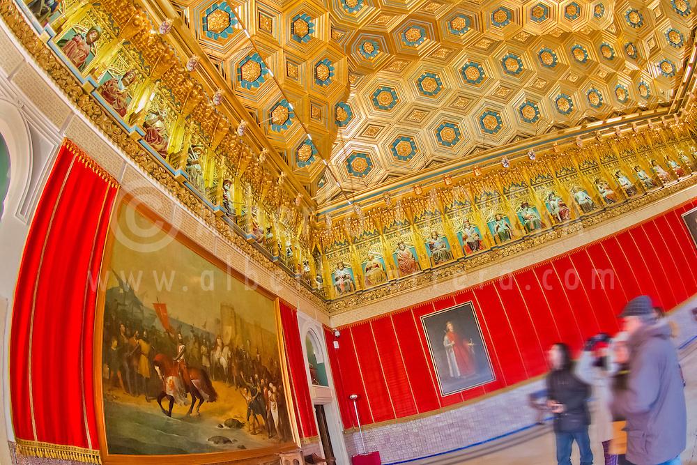 Alberto Carrera, Decorated Ceiling, Alcázar of Segovia, Segovia, UNESCO World Heritage Site, Castilla y León, Spain, Europe.