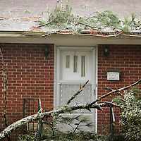 A tree limb rests on a home on Latimer Drive in Wilmington, N.C. Thursday February 13, 2014. The area saw two days of freezing rain that caused a loss of power for much of New Hanover, Pender, and Brunswick counties.   (Jason A. Frizzelle)