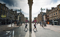 Glasgow, Scotland, UK. 12 June 2020.  Although shops can reopen in England next week, in Scotland the lockdown is not being relaxed so quickly with several more weeks of restrictions to go. Shops and businesses remain closed and streets are very quiet.  Iain Masterton/Alamy Live News