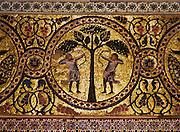 Palermo, Zisa castle, 12th century, Fatimid art mosaic.<br /> Palermo, castello della Zisa,  XII sec, decorazione musiva, pittura fatimita siciliana.