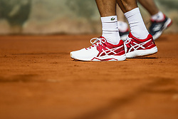 April 23, 2018 - Barcelona, Spain - BARCELONA, SPAIN - APRIL 23: Novak Djokovic from Serbia asics shoes training during the Barcelona Open Banc Sabadell 66 Trofeo Conde de Godo at Reial Club Tenis Barcelona on 23 of April of 2018 in Barcelona. (Credit Image: © Xavier Bonilla/NurPhoto via ZUMA Press)