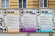 Universities in Vienna, Austria..WU (Wirtschaftsuniversität Wien)..Ads for parties competing at the ÖH (student representatives) elections.