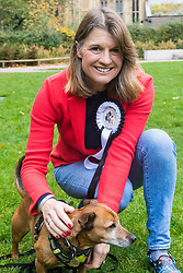 London, October 26 2017. Rachel Maclean MP (Conservative, Redditch) and her Jack Russell/Staffie cross Phoebe at the annual Kennel Club and Dogs Trust Westminster Dog Of The Year competition that sees MPs and members of the House of Lords with their dogs as well as rescue dogs from the Dogs Trust. © Paul Davey
