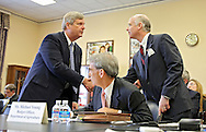 Agriculture Secretary Tom Vilsack shakes hands with Representative Robert Aderholt (R-AL) before the start of a hearing with the House Appropriations Agriculture subcommittee on the USDA's fiscal 2014 budget proposal in the Rayburn House Office Building in Washington, DC on Tuesday, April 16, 2013. Aderholt is the chairman of the Agriculture subcommittee.