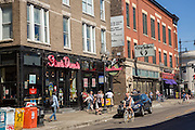Stands Donuts and street scene in the trendy Wicker Park neighborhood in the West Town community in Chicago, Illinois, USA