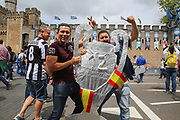 Real Madrid fans with replica trophy before the Champions League Final between Juventus and Real Madrid at the National Stadium of Wales, Cardiff, Wales on 3 June 2017. Photo by Phil Duncan.