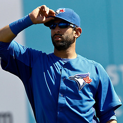 March 8, 2011; Dunedin, FL, USA; Toronto Blue Jays right fielder Jose Bautista (19) stands in the outfield during the top of the fifth inning of a spring training game against the New York Yankees at Florida Auto Exchange Stadium. Mandatory Credit: Derick E. Hingle-US PRESSWIRE