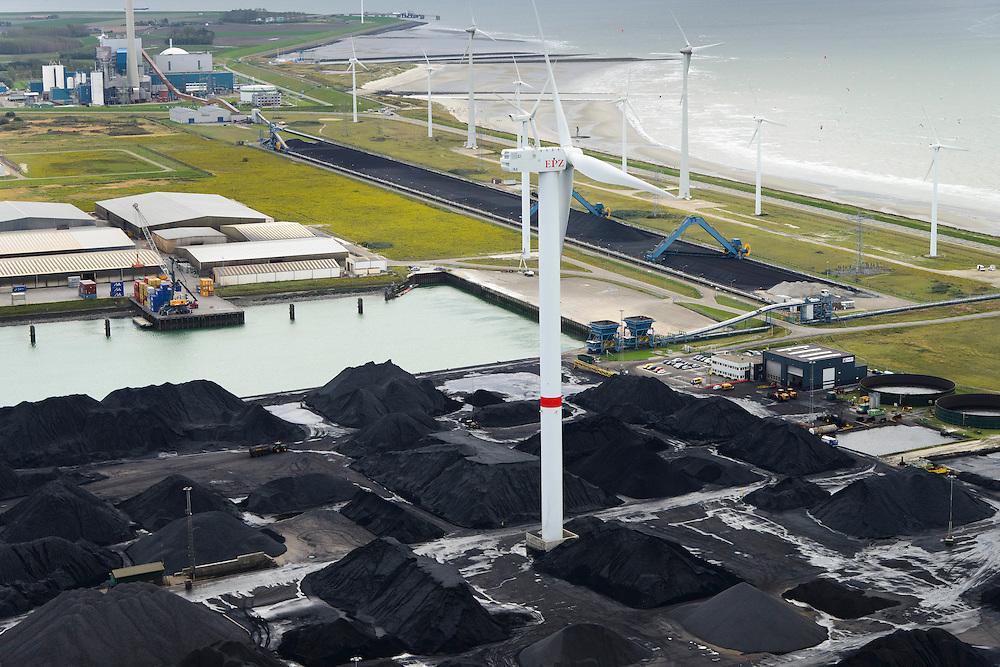 Nederland, Zeeland, Borssele, 23-10-2013; energielandschap, haven bij Borssele. Opslag van steenkool, windmolens aan de dijk van de Westerschelde. Kerncentrale Borssele linksboven. <br /> Port and  industrial area with storage of coal. In the back nuclear plant Borssele (l).<br /> luchtfoto (toeslag op standaard tarieven);<br /> aerial photo (additional fee required);<br /> copyright foto/photo Siebe Swart.
