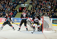 KELOWNA, CANADA, DECEMBER 3: Adam Brown #1 of the Kelowna Rockets makes a save as the Prince George Cougars visit the Kelowna Rockets  on December 3, 2011 at Prospera Place in Kelowna, British Columbia, Canada (Photo by Marissa Baecker/Shoot the Breeze) *** Local Caption ***