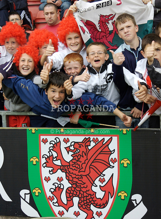 Wrexham, Wales - Saturday, May 26, 2007: Young Wales fans before the International Friendly match against New Zealand at the Racecourse Ground. (Pic by David Rawcliffe/Propaganda)
