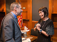Ellen Sigal, Ph.D. Chairperson and Founder of Friends of Cancer Research talks with  <br /> Dr. Douglas R. Lowy, MD, Acting Director, National Cancer Institute during the National Cancer Moonshot Blue Ribbon Panel Discussion at Dirksen Senate Office Building in Washington, DC, on Tuesday, September 27, 2016.  The event was sponsored by the National Coalition for Cancer Research and One Voice Against Cancer. (Alan Lessig/)
