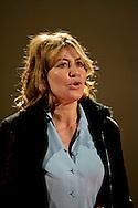 Roma 16 Novembre 2011.Conferenza stampa all'ex cinema Palazzo occupato, al Quartiere San Lorenzo, contro lo sgombero della struttura..Sabina Guzzanti, attrice