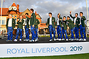 Nathaniel Crosby (USA) Team Captain leads his winning team onto the stage after his team won the Walker Cup at the Royal Liverpool Golf Club, Sunday, Sept 8, 2019, in Hoylake, United Kingdom. (Steve Flynn/Image of Sport)