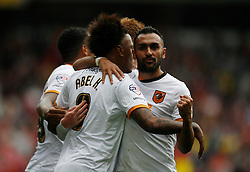 Abel Hernandez of Hull City (L) celebrates scoring his sides first goal - Mandatory byline: Jack Phillips / JMP - 07966386802 - 3/10/2015 - FOOTBALL - The City Ground - Nottingham, Nottinghamshire - Nottingham Forest v Hull City - Sky Bet Championship